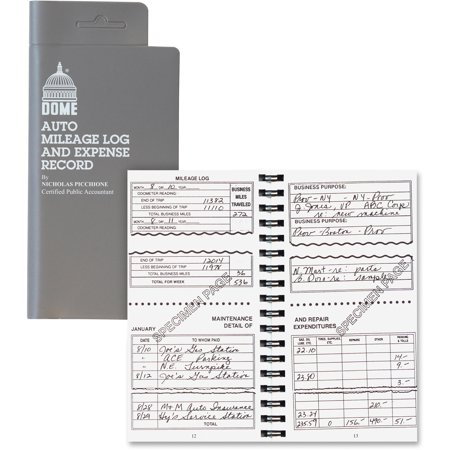 dome dom750 auto mileage expense record book 1 each white