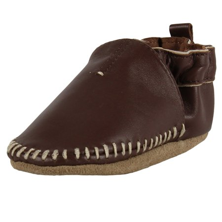 Robeez Bows - Robeez Newborn Baby Shoes for Baby Boys Premium Leather Classic Brown Moccasin Soft Sole Crib Shoes 0-6 Months - Infant Pre-Walker First Shoes Unisex Shoes for Baby Girls or Baby Boys Shoes