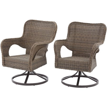 Better Homes and Gardens Camrose Farmhouse Mix and Match Wicker Swivel Chairs, Set of 2