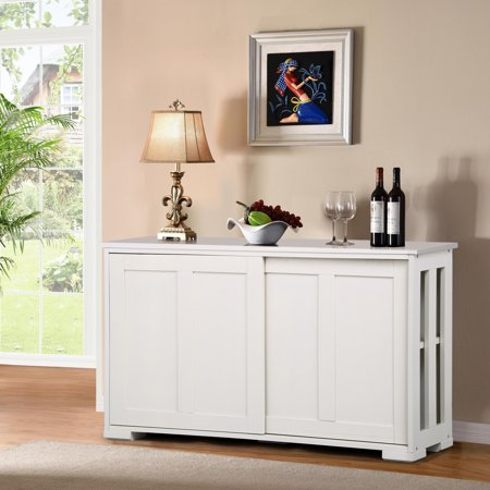 Kitchen Storage Buffet Cabinet Sideboard Cupboard Pantry Console Table Display w/ Sliding Door White