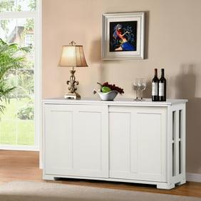 Topeakmart Antique White Buffet Cabinet Kitchen Table Sliding Door Stackable Sideboard Storage