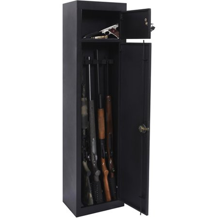 American Furniture Classics 5-Gun Metal Security Cabinet with Separate Pistol/Ammo Area