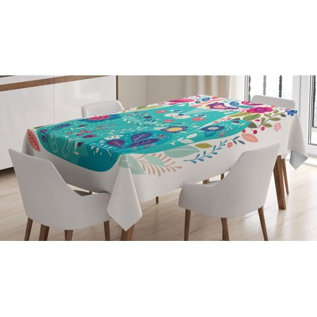 Cat Decor Tablecloth, Cute Kitty Surrounded by Birds Flowers Ladybugs Inspirational Folk Baby Illustration, Rectangular Table Cover for Dining Room Kitchen, 52 X 70 Inches, Green, by Ambesonne