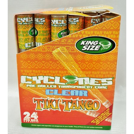 Box 24 TIKI TANGO King Size Flavored Pre Rolled Cones Reusable Wood Tip, Full Box By Cyclones