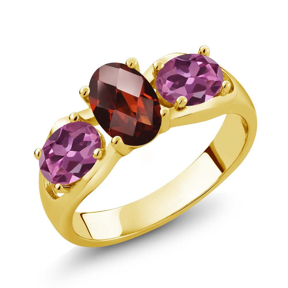 1.80 Ct Oval Checkerboard Red Garnet Pink Tourmaline 14K Yellow Gold Ring by