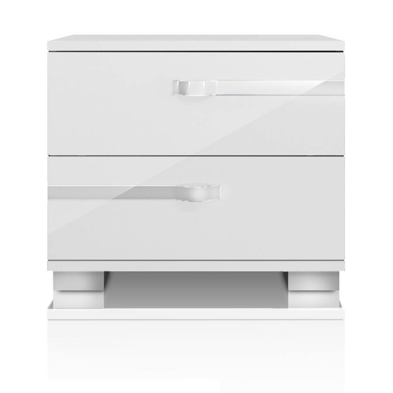 Maklaine 2 Drawer Nightstand in White High Gloss and Chrome Foil