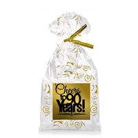 CakeSupplyShop Item#090CTC 90th Birthday / Anniversary Cheers Metallic Gold & Gold Swirl Party Favor Bags with Twist Ties