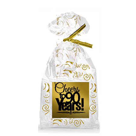 CakeSupplyShop Item#090CTC 90th Birthday / Anniversary Cheers Metallic Gold & Gold Swirl Party Favor Bags with Twist Ties](90th Birthday Colors)