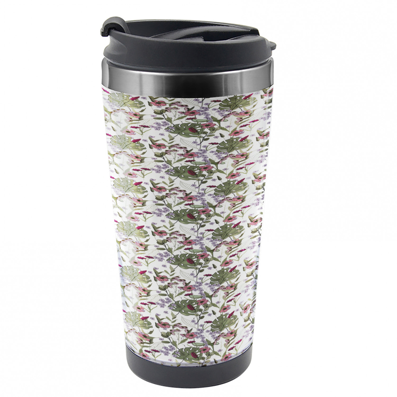Botanical Travel Mug Monstera Leaf And Flowers Steel Thermal Cup 16 Oz By Ambesonne Walmart Com Walmart Com