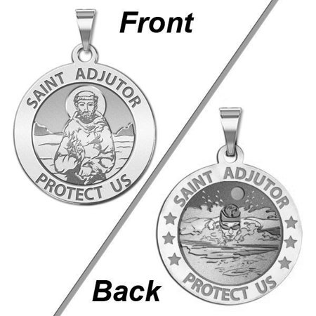 Silver Medal (Saint Adjutor Doubles Sided Male Swimmer Religious Medal - - 2/3 Inch Size of Dime, Sterling)