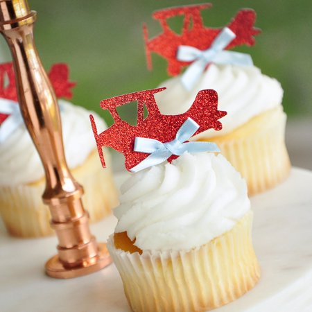 Airplane Cupcake Toppers Ships In 1 3 Business Days Birthday Party Decorations 12 CT