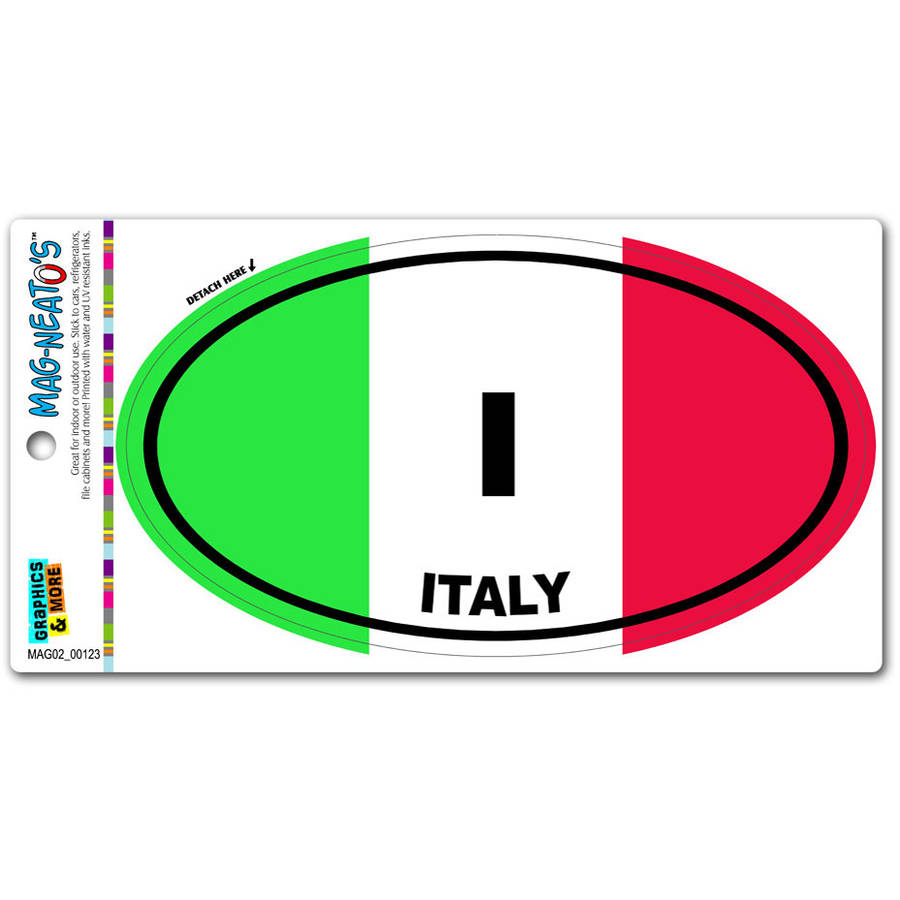 Italy Country Flag I Euro Oval Italian Flag Automotive Car Refrigerator Locker... by Graphics and More