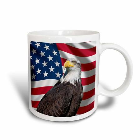Bald Eagle Steel Mug - 3dRose American Flag USA Bald Eagle Patriotism Patriotic Stars Stripes, Ceramic Mug, 11-ounce