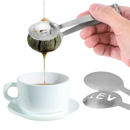 (EECOO Tea Bag Squeezer,1Pc Mini Stainless Steel Round Teabag Tongs Tea Bag Squeezer Herb Grip Kitchen Tool,Mini Tea Bag Tongs)