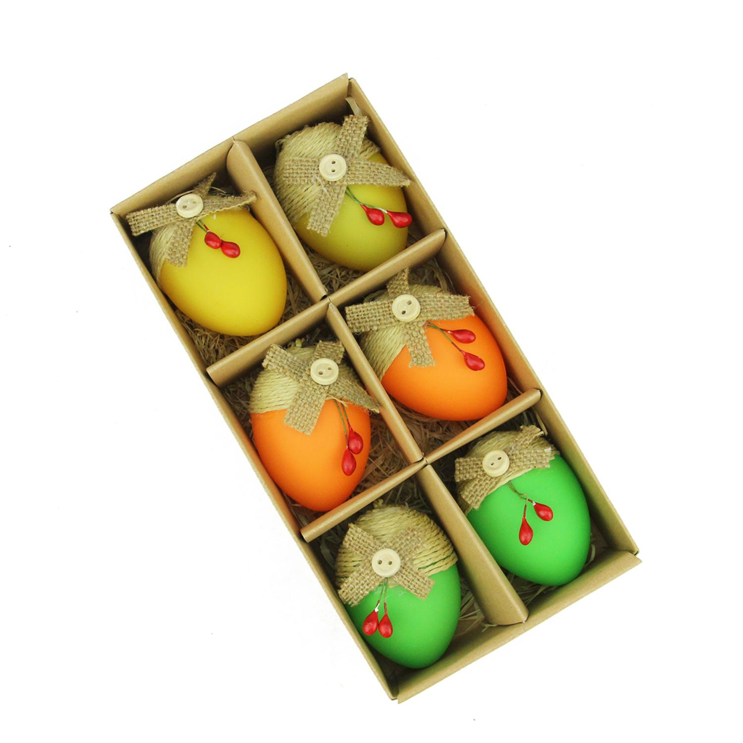 Set of 6 Bright Green Orange and Yellow Decorative Jute Burlap Spring Easter Egg Ornaments 2.25""