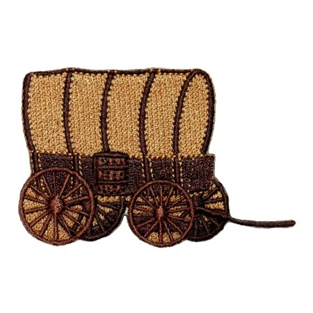 - ID 1324 Covered Wagon Patch Oregon Trail Caravan Embroidered Iron On Applique