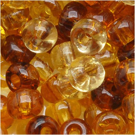 Tortoise Shell Mix - Czech Seed Beads 6/0 ''Tortoise'' Mix Brown Beige (1 Ounce)