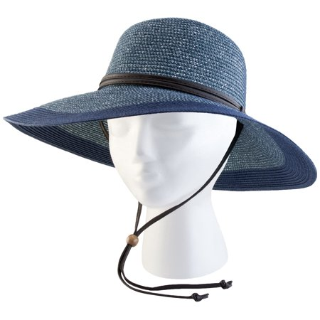 442GB Medium Women's Grey and Blue Wide Brim Hat - Tam O Shanter Hat