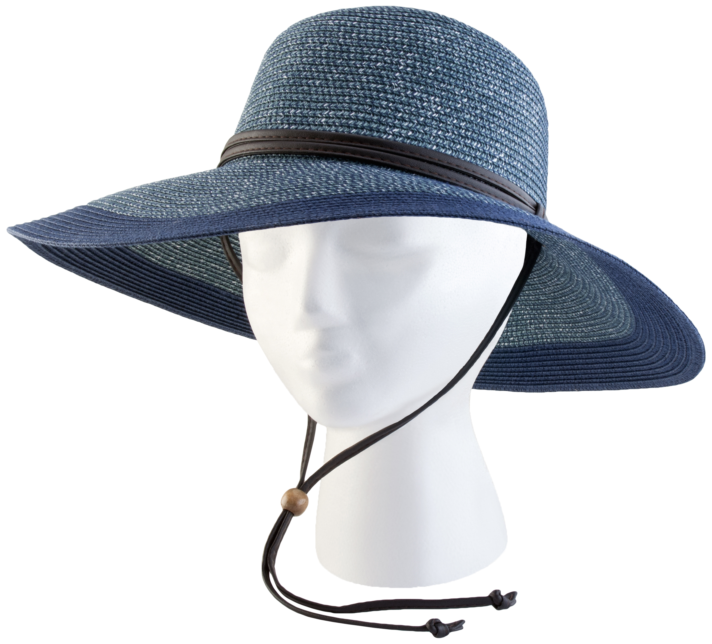 442GB Medium Women's Grey and Blue Wide Brim Hat