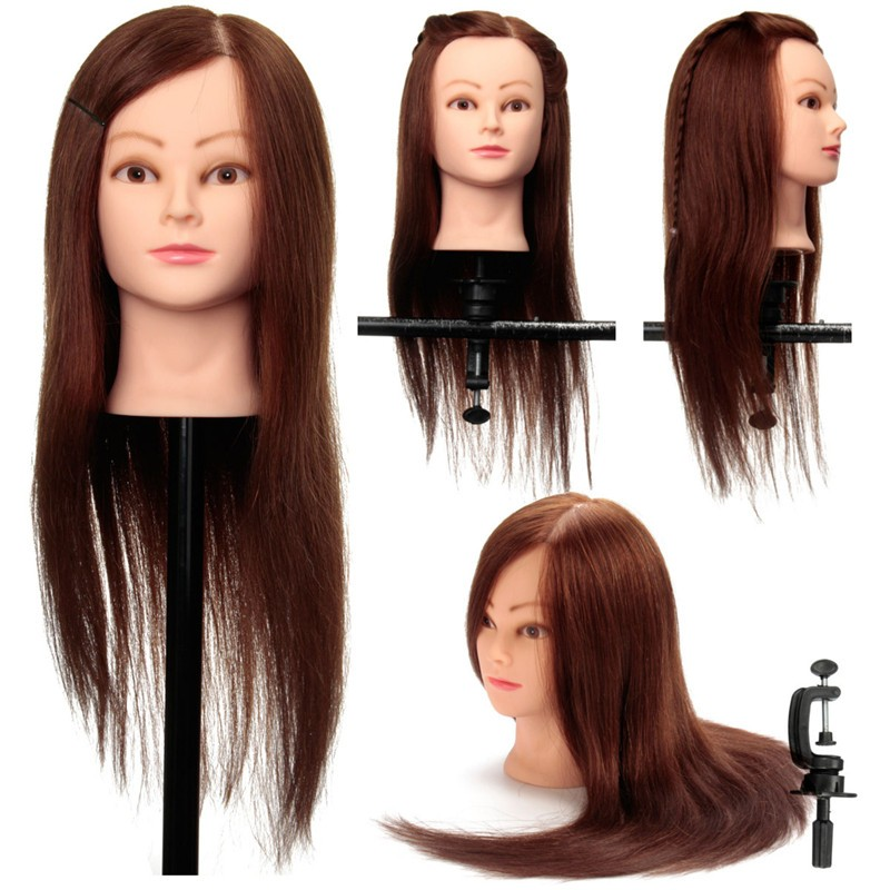 "22"" 100% Human Hair Hairdressing Doll Salon Practice Training Head Mannequin + Clamp Holder"