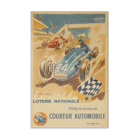 Loretie Nationale - Coureur Automobile Vintage Poster (artist: Geo Ham) France (8x12 Acrylic Wall Art Gallery (Geo Ham)