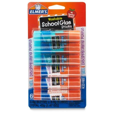 (2 Pack) Elmer's Washable School Glue Sticks, Gel and Disappearing Purple, 0.21 oz, 6 -