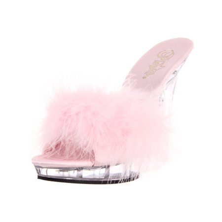 5 Inch Sexy Lingerie Shoe High Heel S On Slide With Marabou Faux Fur Baby Pink ()