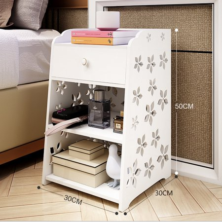 Bedroom Bedside Table Rack Cabinet Organizer Night Stand with Drawer White Home Room - image 1 of 7