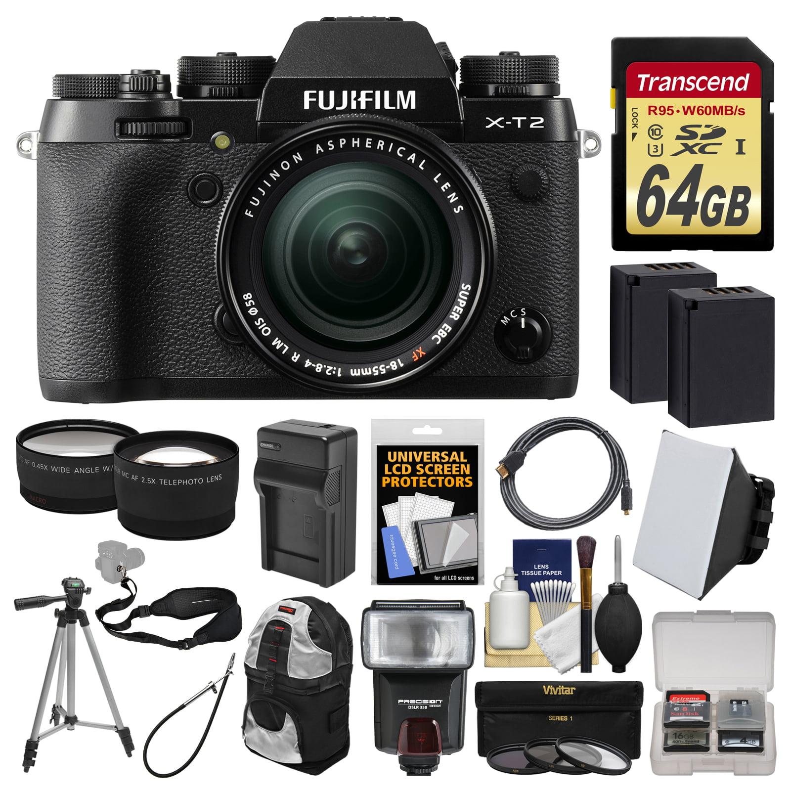 FujiFilm X-T2 4K Wi-Fi Digital Camera & 18-55mm XF Lens with 64GB Card + Case + Flash + 2 Batteries & Charger... by Fujifilm