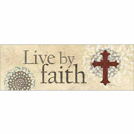 Live By Faith Traditional Cross Flower Medallion Religious Painting Tan & Red Canvas Art by Pied Piper Creative Bell Flower Finished Medallion