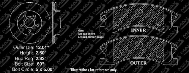 2002 2003 Ford Explorer 4Dr Models Max Performance Metallic Brake Pads R