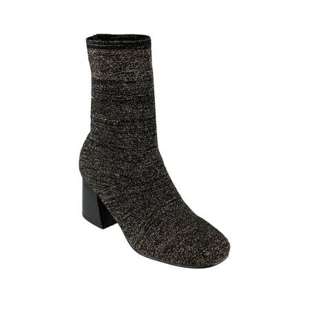EK38 Women's Stretchy Sock Knitting Ankle High Top Stacked Heel Booties