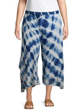 Studio West Women's Plus Size Tie Dye Pants with Embroidery