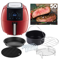 GoWISE USA 5.8-Quarts 8-in-1 Air Fryer XL with 6-PC Accessory Set + 50 Recipes for your Air Fryer Book (Chili Red)
