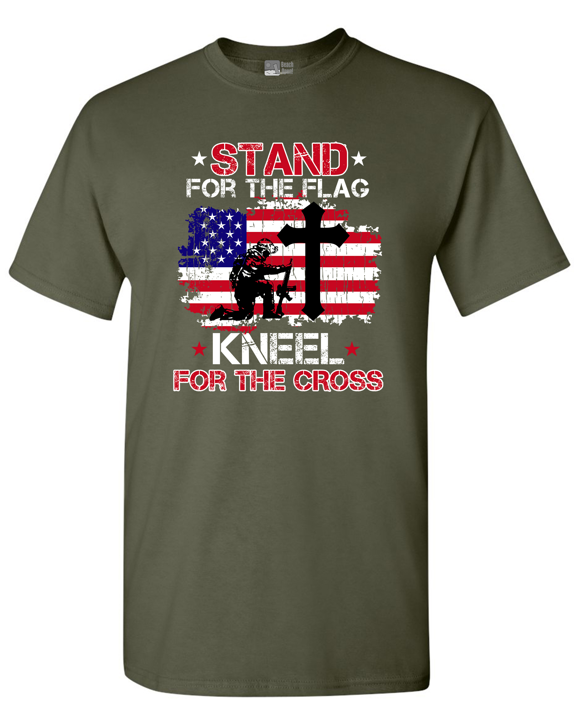 Stand For The Flag Kneel For The Cross Soldier Flag USA DT Adult T-Shirt Tee