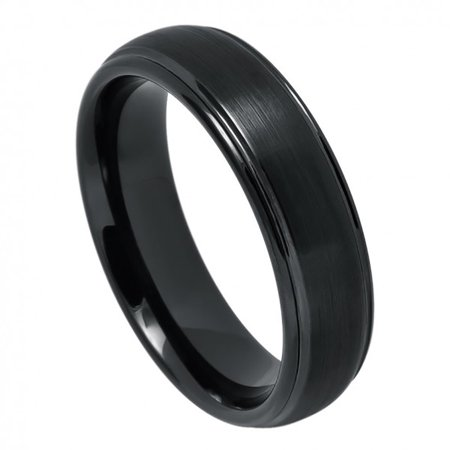 6mm Tungsten Domed Black IP Plated Brushed Center High Polished Grooved Edge Wedding Band Ring For Men Or - Brushed Center High Polish