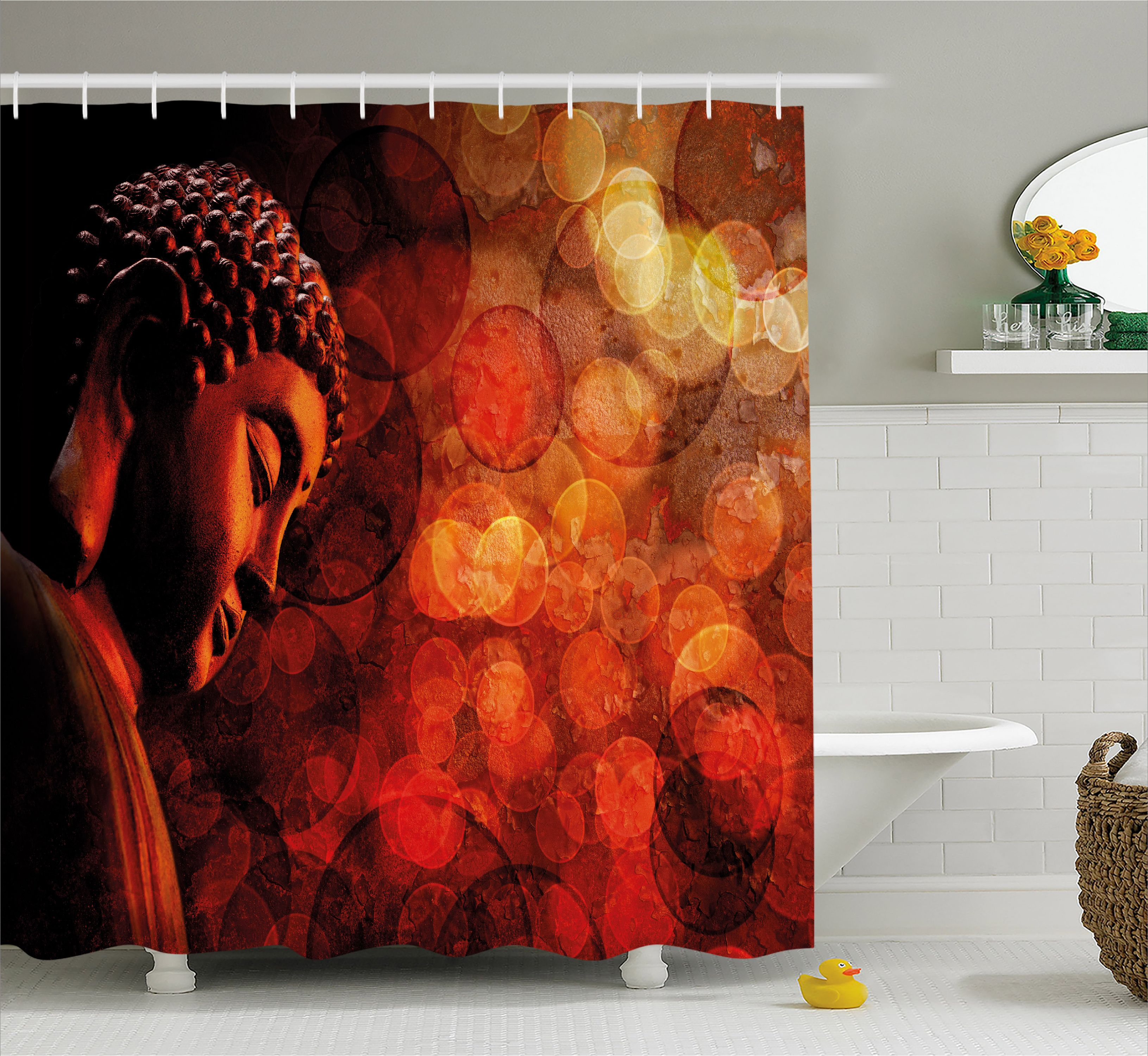Zen Shower Curtain, Eastern Religious Figure Abstract Backdrop Asian  Ethnicity Meditation Peace, Fabric Bathroom