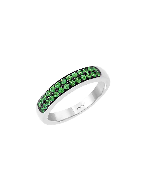 Embellished Sterling Silver & Tsavorite Ring