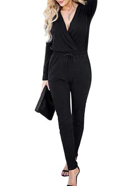 Sexy Dance Womens Sexy Deep V Neck Long Sleeve Wrap Drawstring Waist Jumpsuit Romper with Pockets S-XL