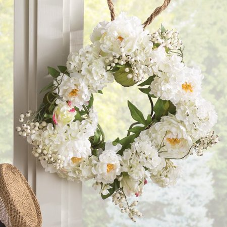August Grove Anita 20'' Peony Hydrangea Wreath