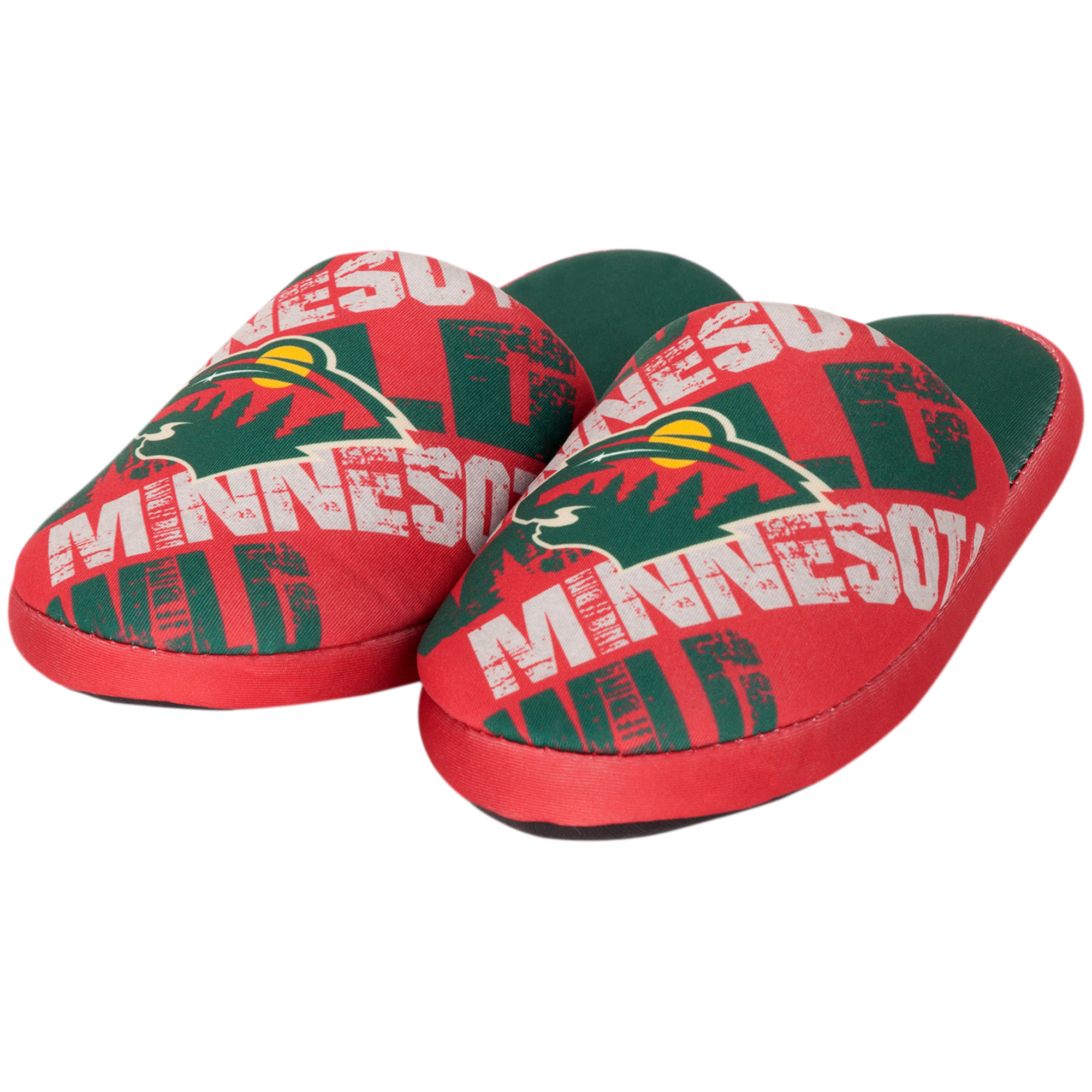 Minnesota Wild Youth Wordmark Printed Slippers - Red