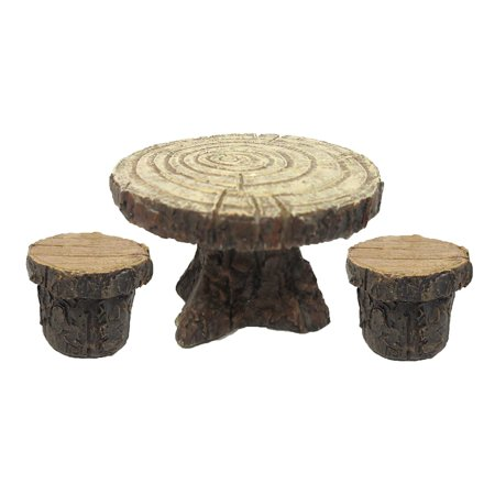 Ebros Enchanted Garden Tree Stump Table and Chairs Set Mini Fairy Garden Decorative Accessory 3pc Set