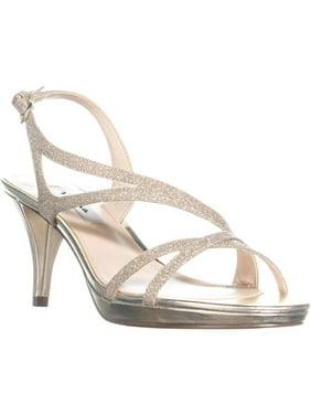 Womens Nina Nura Kitten Heel Slingback Sandals, Platino