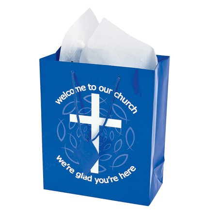 - Fun Express - Blue Welcome To Our Church Gift Bags - Party Supplies - Bags - Paper Gift W & Handles - 12 Pieces