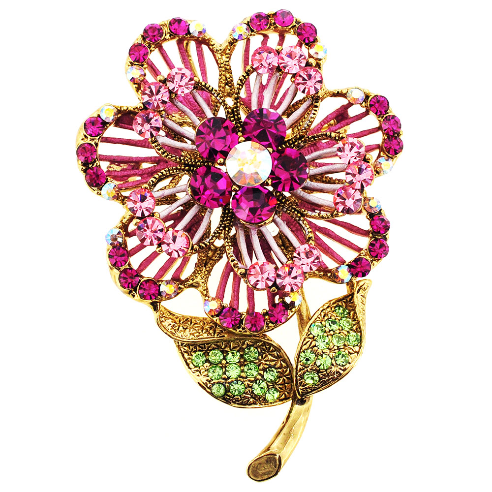 Pink Swarovski Crystal Flower Pin Brooch And Pendant by