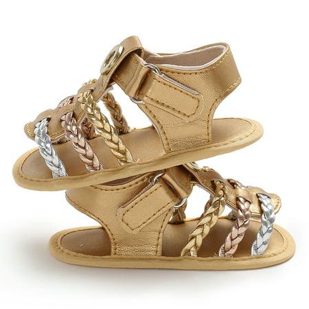 Baby Girls Shoes Soft Sole Non-Slip PU Leather Weave Sandal Prewalker Princess Shoes Golden 13cm For 12-18 Months](Roaring Twenties Shoes For Sale)