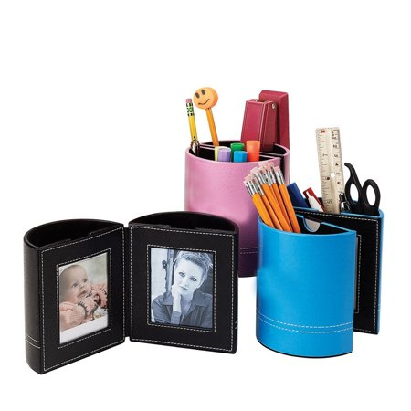 Pencil Holder  Pink  8252 Pink   It Has Lots Of Storage For Writing Instruments And Office Necessities And Opens To Reveal Dual Frames