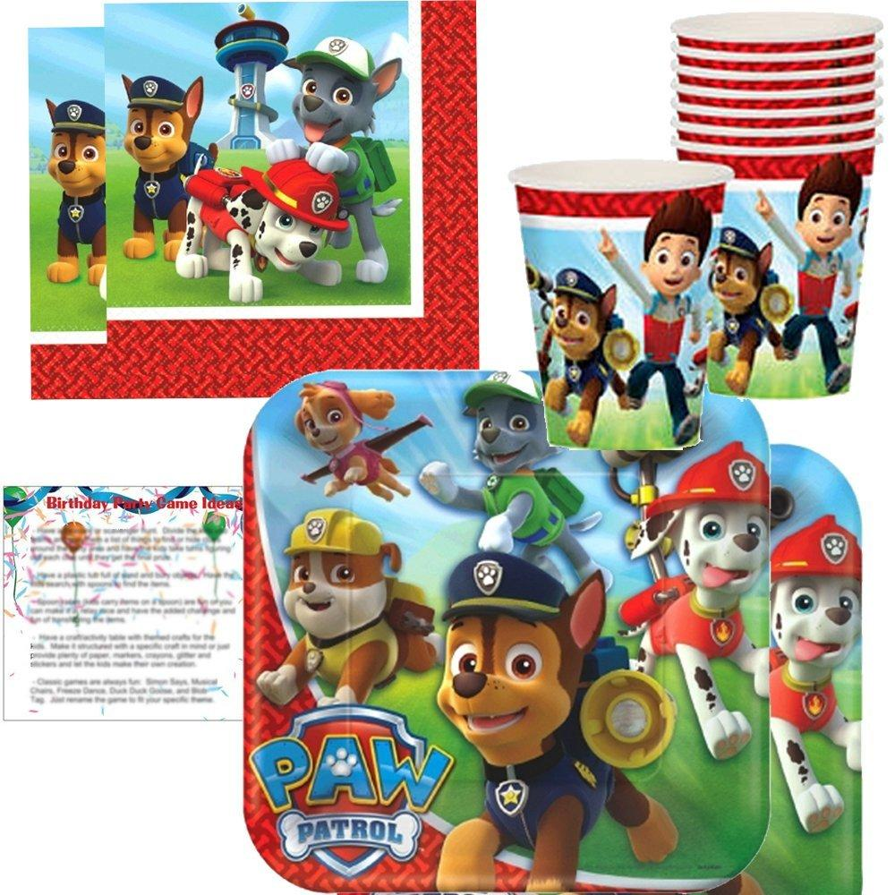paw patrol plates, napkins and cups for 16 - paw patrol b...