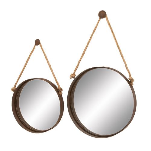 Set of 2 Round Metal Mirrors