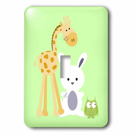 3dRose Giraffe, Bunny and Owl  lime kids room decoration, 2 Plug Outlet (Lime Giraffe)